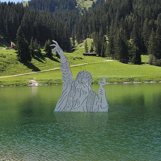 The giant in the Filzalmsee lake